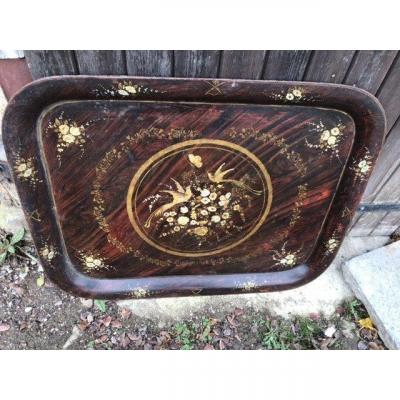 Large Tray In Painted Sheet XIXth