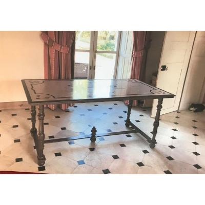 Table With Patinated Wrought Iron Legs Louis XIII Scagliola Modern Style