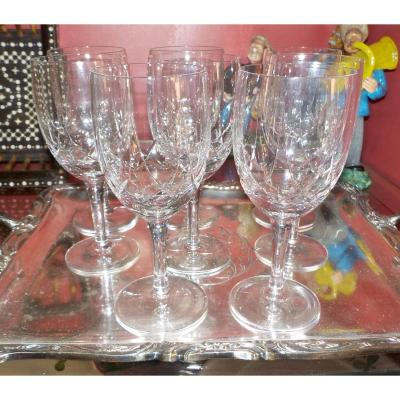 6 Non Signed Baccarat Crystal Glasses