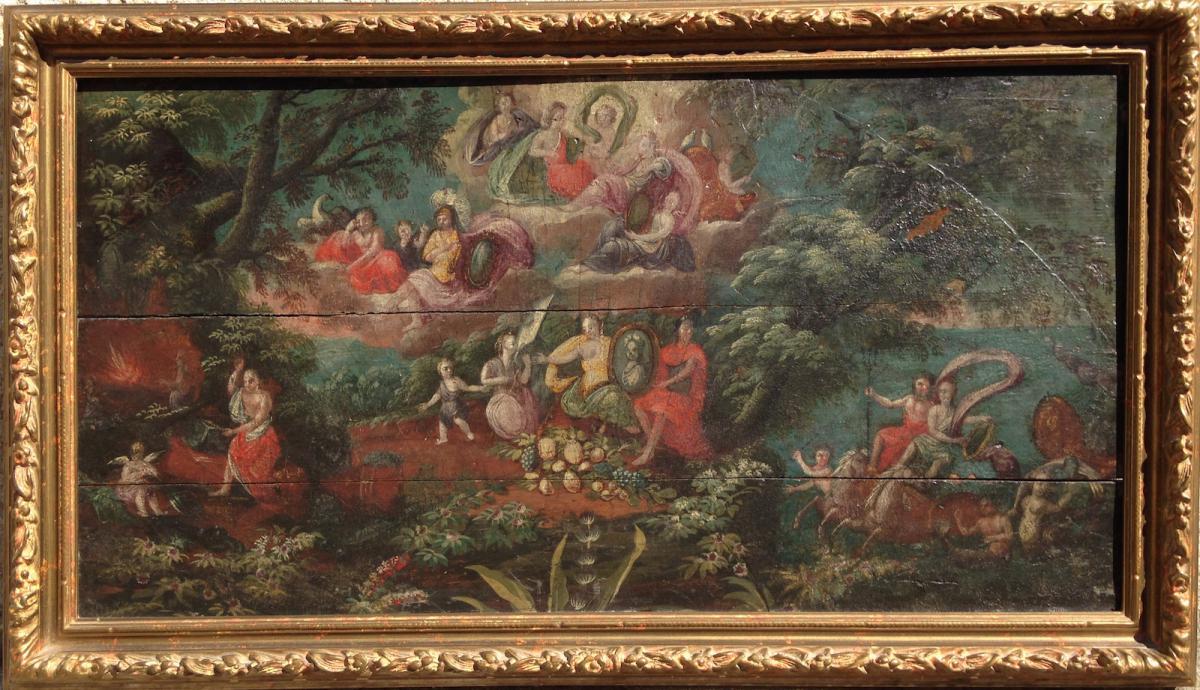 Projet d'éventail, scène Mythologique XVIIème Siècle