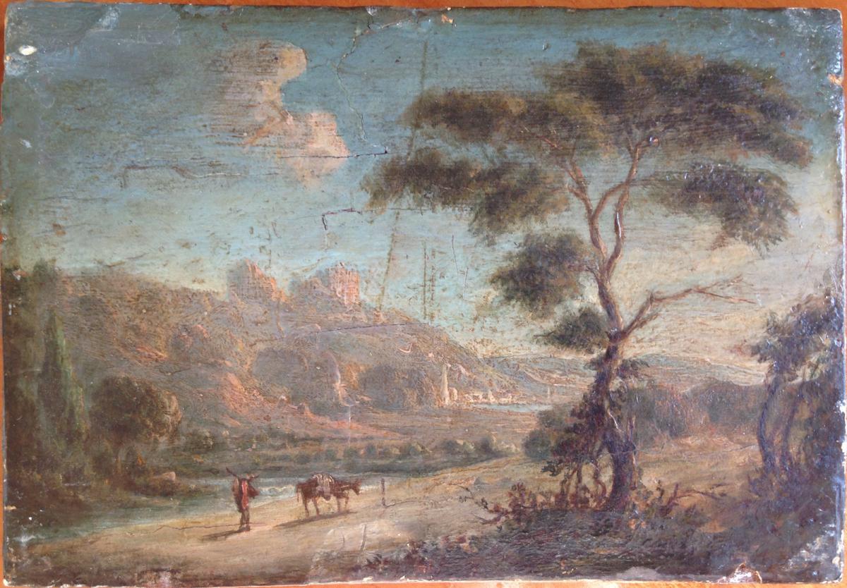 Paysage Animé, au bord d'une rivière, début du XIXème siècle