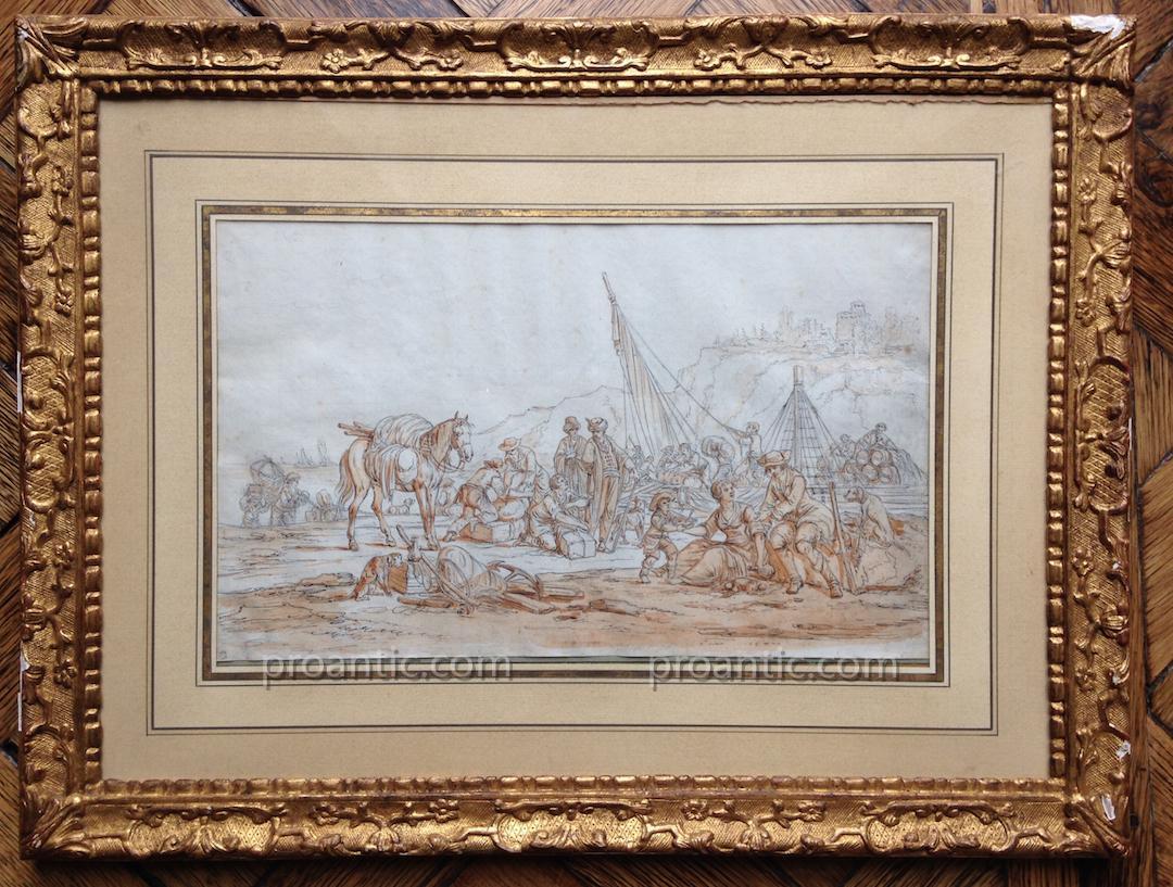 """Jean-Baptiste Hilaire """"Comptoir ottoman animé de voyageurs"""""""