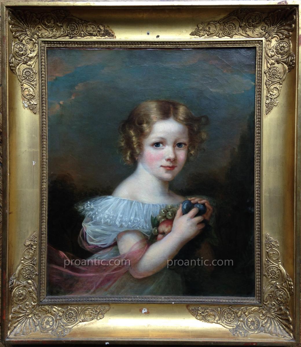 Portrait Petite Fille Aux Fruits
