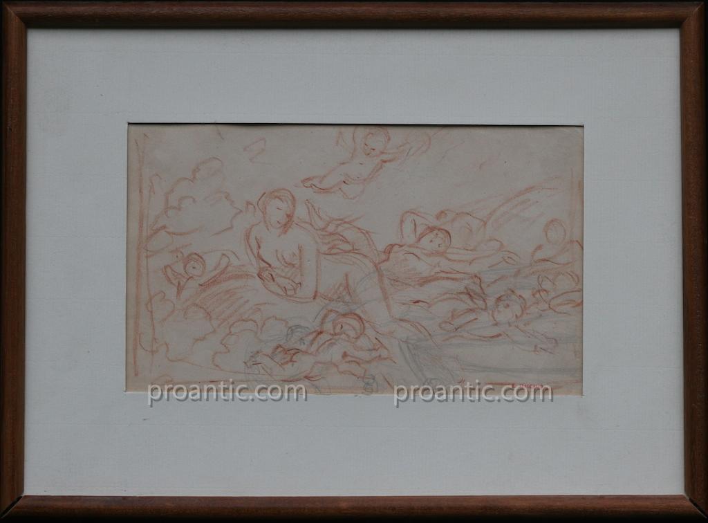 Alexandre Evariste Fragonard, Etude De Nageuses Avec Putti