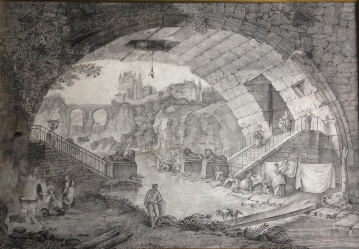 """Gravure """"Vue Du Pont Des Sephinx"""" d'Après Hubert Robert"""