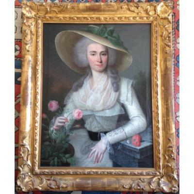 """Portrait """"Dame de qualité au chapeau de paille"""""""
