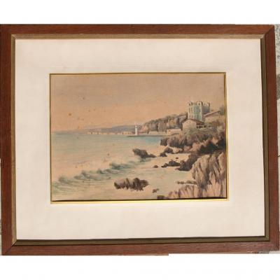 Nice, la Réserve et l'entrée du port Lympia, aquarelle