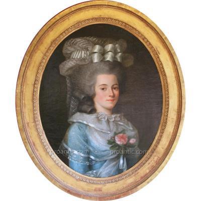 Labille-Guiard (attribué), Portrait Jeune Fille au Pouf