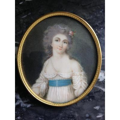 Young Woman With Pearl Necklace, Miniature On Ivory