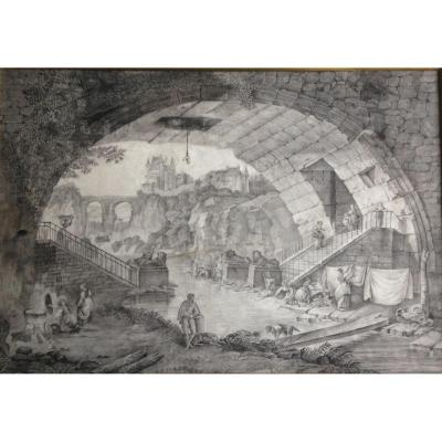 "Engraving ""vue Du Pont Des Sephinx"" By After Hubert Robert"