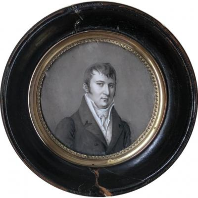 Miniature Portrait Of Man In Grisaille On Ivory