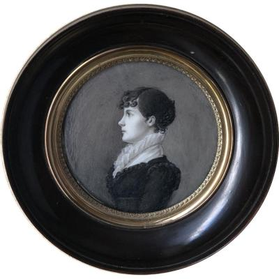Miniature On Ivory, Portrait Woman In Grisaille