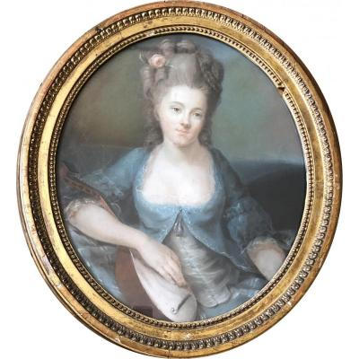 Portrait Of Young Woman With Mandolin