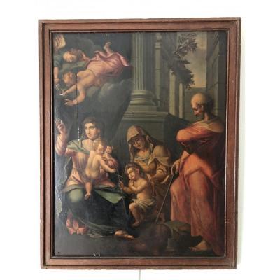 Sainte Famille,  Ecole Italienne XVIIème Siècle