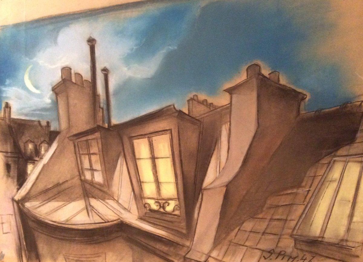 Serge Pimenoff (1895-1960) , Les Toits, Gouache Sur Papier