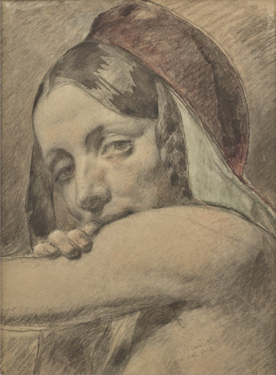 Auguste Bigand (1803 - 1875), Female Figure, Black Chalk And Watercolor