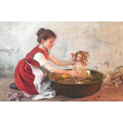 The Doll's Bath, Louis Adolphe Tessier (1858 - 1915)