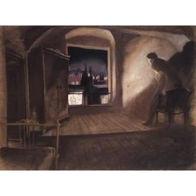 Serge Pimenoff (1895-1960), Les Amants, Gouache On Paper