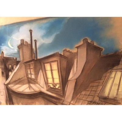 Serge Pimenoff (1895-1960), Les Toits, Gouache On Paper