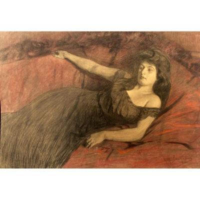 Léon Bartholomé, Elégante Allongée Sur Un Sofa