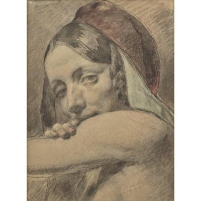 Auguste Bigand (1803 – 1875), Figure Féminine, Pierre Noire Et Aquarelle