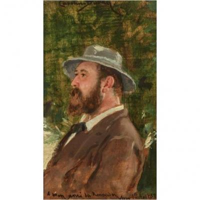 Carolus-duran (lille 1837 - 1917 Paris),  Portrait De Monsieur Des Renaudes,   Huile Sur Bois