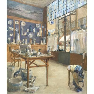 Interior Of Earthenware Workshop, French School 1900, Oil On Canvas Signed