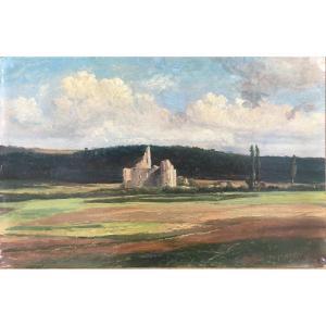 Ecole Belge XIXe, Paysage, huile sur papier
