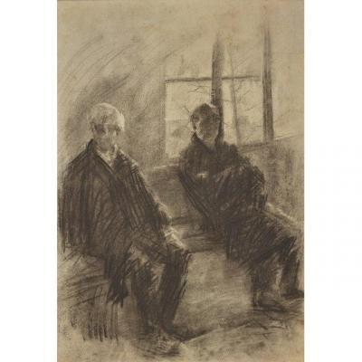 Eugène Carrière (Gournay 1849 – Paris 1905),  Deux hommes assis ,   Fusain sur papier