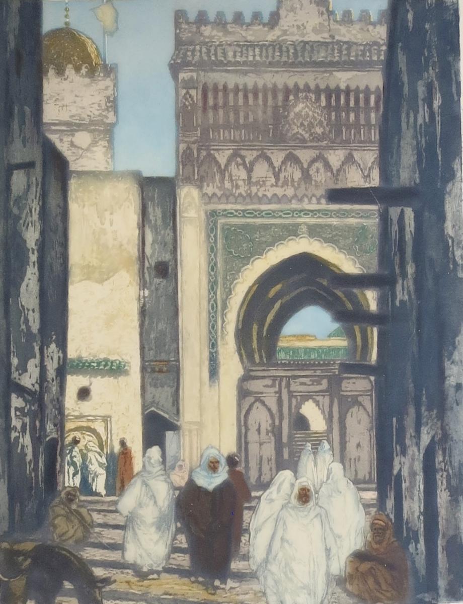 Lobel-riche, La Mosquée Des Andalous à Fès, Aquatinte