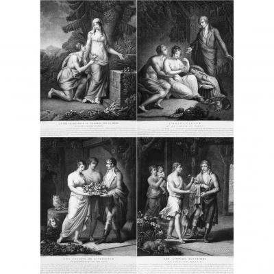 Wedding, After Chaillou, Four Stipple Engrav, Neoclassical