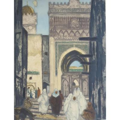 Lobel-rich, The Andalusian Mosque In Fez, Aquatint