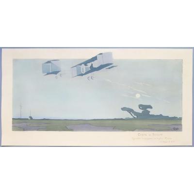 Aviation, Rougier Sur Biplan Voisin, Lithographie En Couleurs De Gamy