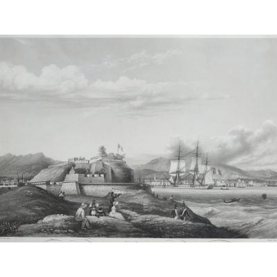 Aquatinte D'après Garneray, Vue Du Fort  Royal De St Pierre, Martinique, C.1835