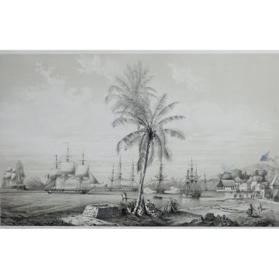 Lithograph By Louis Lebreton, Port Of Papeete (tahiti), XIX