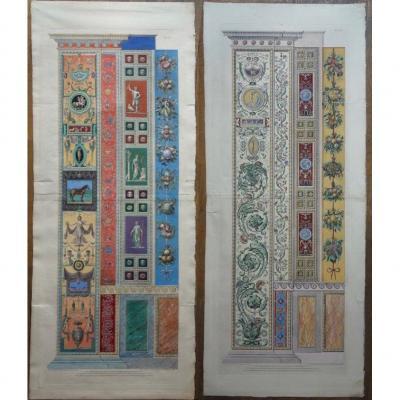 Paire de deux gravures, Loges Du Vatican, Ottaviani, d'ap. Raphaël, eau-forte et Burin, XVIIIe