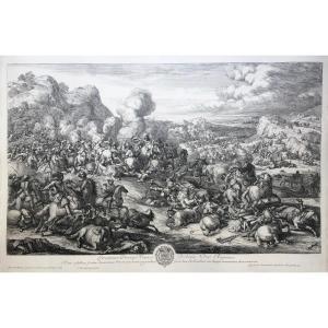 Jan Van Huchtenburgh (1647 - 1733), Combat De Cavalerie, d'Après Van Der Meulen, Eau-forte
