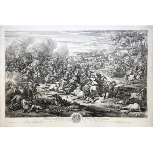 Jan Van Huchtenburgh  (1647-1733), Combat De Cavalerie, d'Après Van Der Meulen, Eau-forte