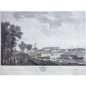 Cochin Ch-nicolas, Le Jeune Et Le Bas J-philippe, View Of Bayonne, City And Port, Etching