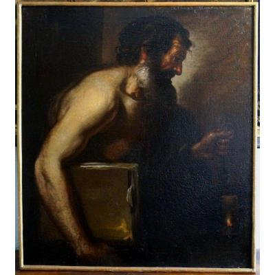 Diogenes 18 / 17th Century Italian School (naples) Caravaggio Painting Oil On Canvas