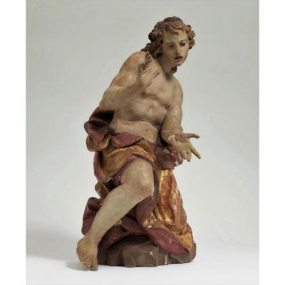 Superbe  Sculpture En Bois Peint Debut XVIII ème Siècle Vènitien