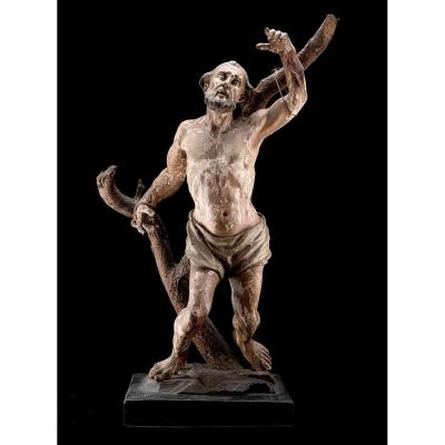 Superbe Sculpture Du Saint Bartholomeus Fin XVII Debut XVIIIème Siècle