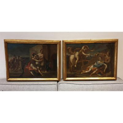 Pair Of Oils On Canvas XVIth Renaud And Armide - France