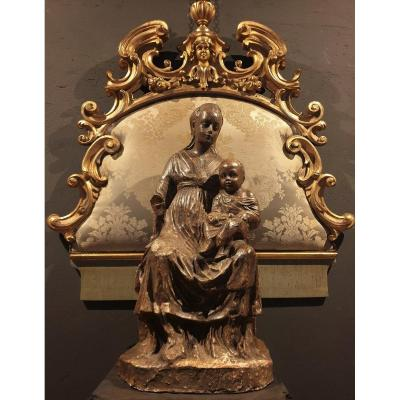 Superb Large Terracotta Sculpture Madonna With Child Late 18th Century