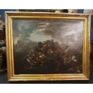 Oil On Canvas Battle Against The Turks Giovanni Canti 1650-1716 Expertise