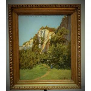 Huile Sur Toile Paysage XIX Siècle Signè Germain Paget 1817-1884