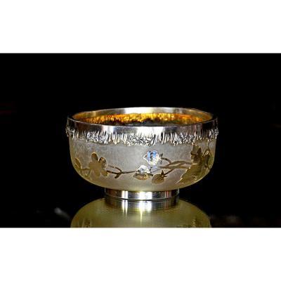 Legras, Montjoye. Compotier d'ép. Art nouveau en verre givré et doré, cerclage en métal argenté