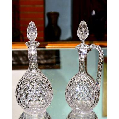 Baccarat. Carafe et aiguière en cristal taillé, modèle « Juvisy » (Palais de l'Élysée).