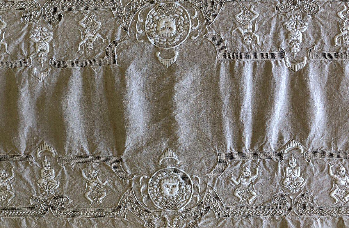 Chine Service De Table Broderie XIXème Siecle En Lin  Tissu Ancien Asie