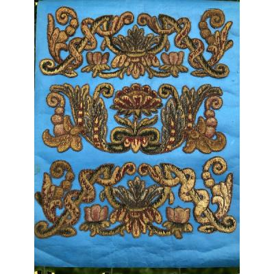 7  TISSUS Broderie Tapisserie Tenture Louis XIII D'EPOQUE XVIIème SIECLE  Fil Métallique  FLEURS